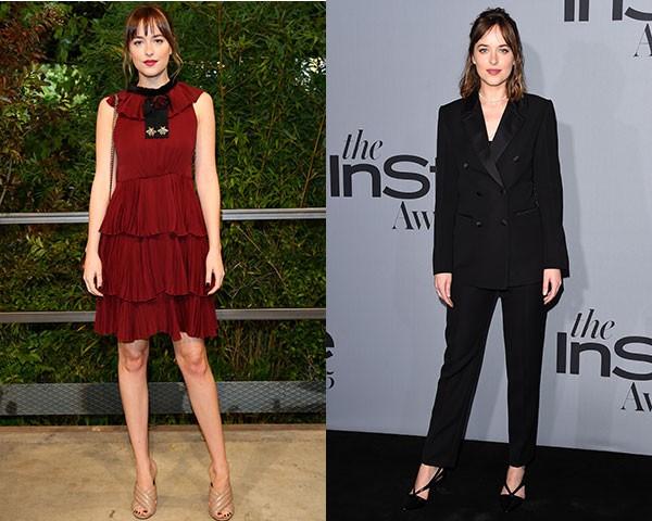 Dakota opta por modelos mais modernos na forma de vestidos curtinhos ou terninhos (Foto: Getty Images)
