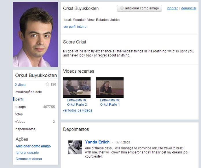 Orkut Büyükkökten com seu perfil no Orkut (Foto: Reprodução/Thiago Barros)