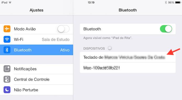 Escolhendo um teclado sem fios na lista de dispositivos Bluetooth do iPad (Foto: Reprodução/Marvin Costa)