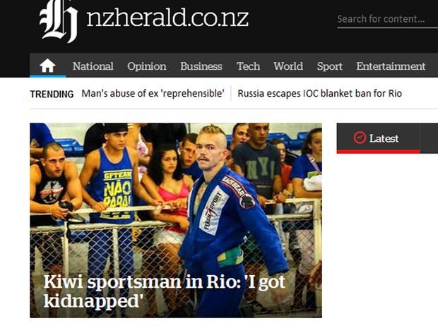 Sequestro de Jay Lee foi destaque na imprensa da Nova Zelândia (Foto: Reprodução/NZHerald.com)