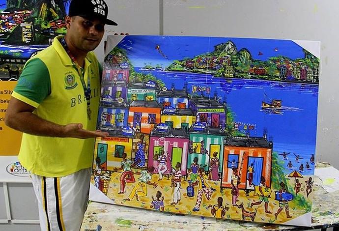 Artista plástico Caio Nascimento irá doar quadro para rifa - donheiro arrecadado ajudará nas despesas de Matheus e Socrates (Foto: Arquivo Pessoal)