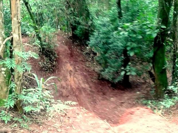 Trilha utilizada por motociclistas na região do Morro Azul em Iracemápolis (Foto: Divulgação/ PM)