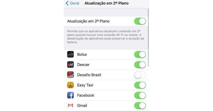 Desativando a atualização de apps em segundo plano no iOS (Foto: Reprodução/Edivaldo Brito)