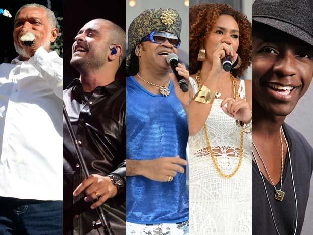 Brown recebe Mumuzinho, Rufino, Mariene e Nogueira na festa Enxaguada du Bonfim, em Salvador (Foto: Arte/G1)
