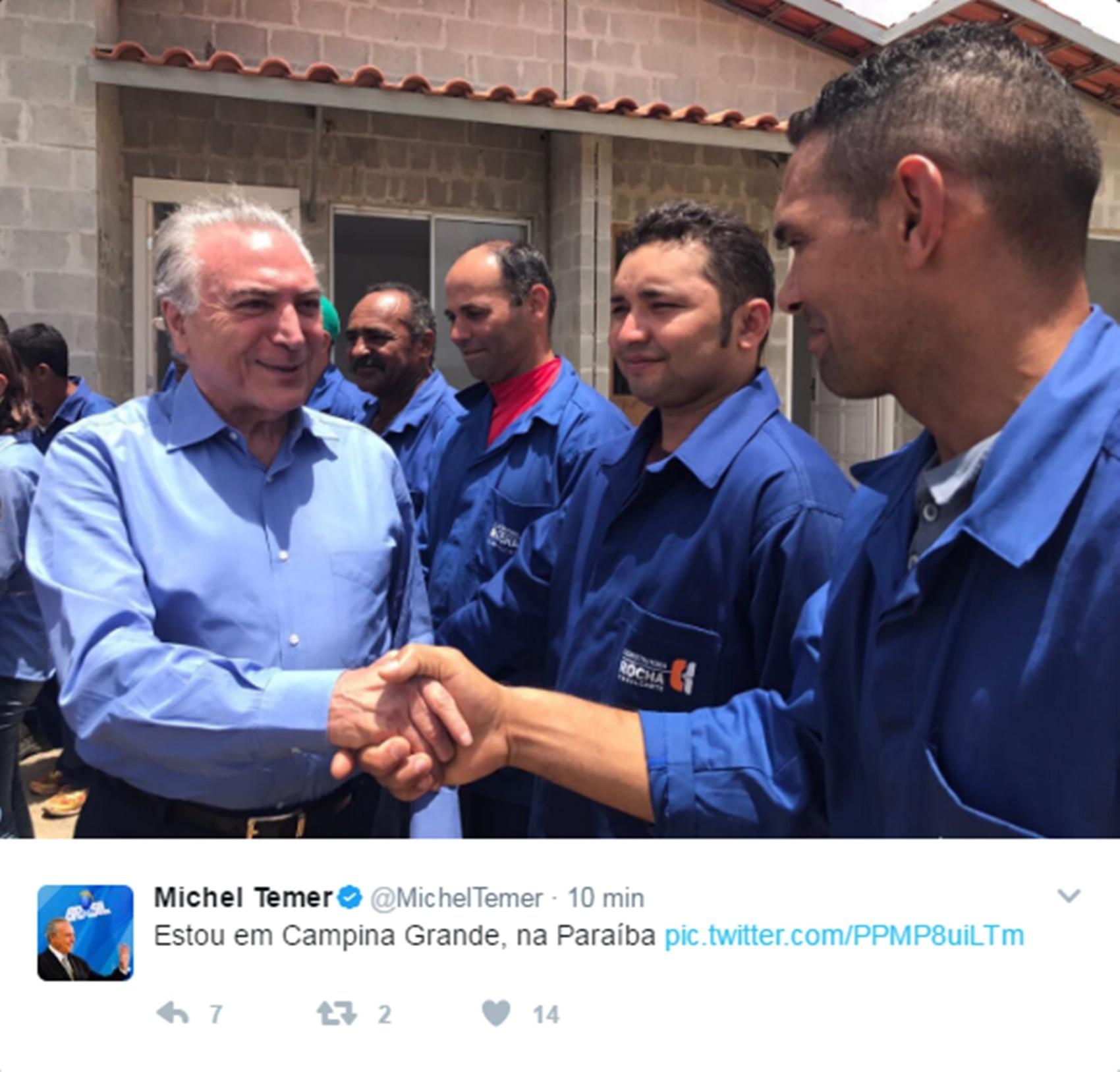 Michel Temer publicou em seu perfil em uma rede social uma foto da visita à Campina Grande nesta sexta-feira (10) (Foto: Reprodução/Twitter/@MichelTemer)