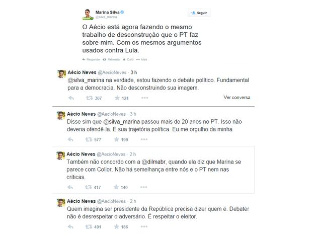 Marina Silva (PSB) e Aécio Neves (PSDB) em debate virtual (ou desconstrução, como a ambientalista afirmou) (Foto: Reprodução/Twitter)