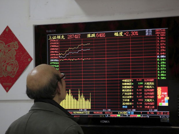 Investidor observa cotações na tela de uma corretora em Xangai, nesta segunda-feira (14). (Foto: Reuters)