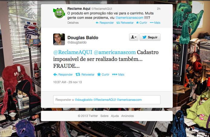 No Twitter, consumidores reclamam que não conseguem editar seus cadastros em lojas (Foto: Reprodução/Twitter)