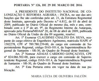 Exoneração foi publicada nesta quarta-feira (30) (Foto: Reprodução/Diário Oficial da União)