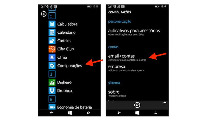 Acessando as configurações para contas de e-mail no Windows Phone (Foto: Reprodução/Marvin Costa)