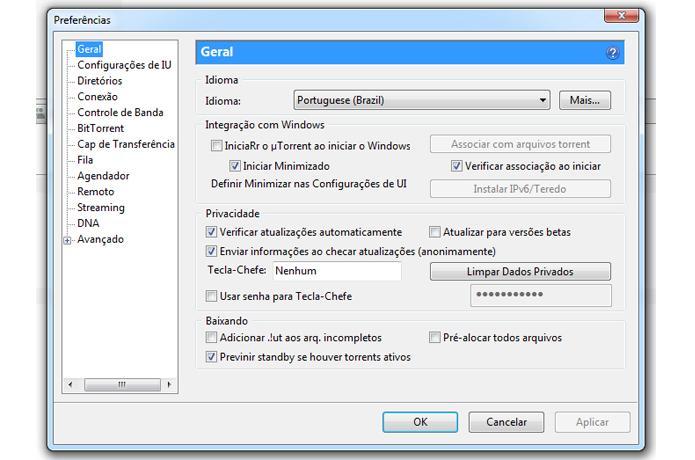 Configurações Gerais do uTorrent (Foto: Reprodução/Ramon Cardoso)