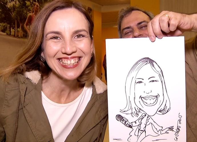 Teresa Freitas ganhou uma caricatura muito bem-humorada (Foto: Rio Sul Revista)