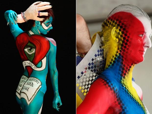 Modelos se preparam para festival de pintura corporal na Áustria, neste sábado (7) (Foto: Reuters/Heinz-Peter Bader )