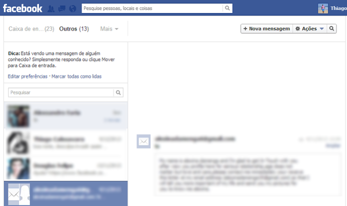 Mensagens de e-mail apareciam na caixa do Facebook  (Foto: Reprodução/Thiago Barros)