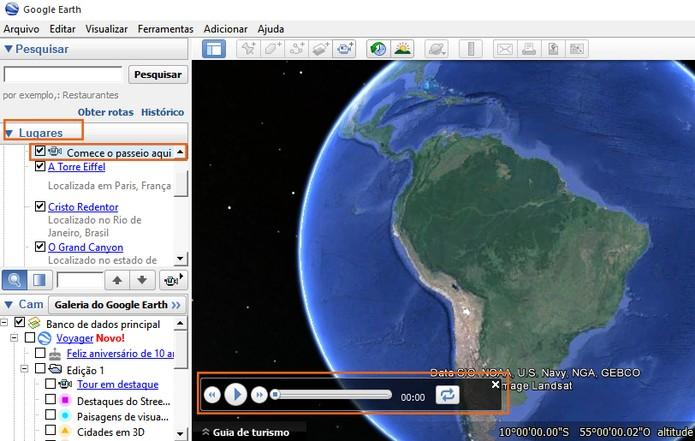 Selecione o passeio que deseja gravar no Google Earth (Foto: Reprodução/Barbara Mannara)