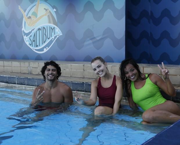 Nakamura, Thaeme e Jesus Luz brincam nos treinos  (Foto: Ellen Soares/Gshow)