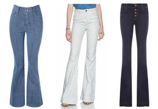 Calça jeans flare. Da esq. pra dir. : Amapô, Emme e Mixed  (Foto: Divulgação)