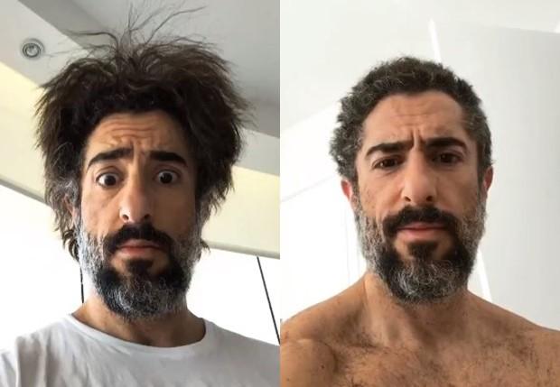 Marcos Mion antes e depois de cortar os próprios cabelos (Foto: Reprodução/Instagram)