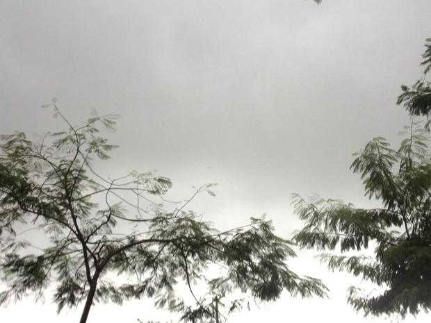 Tempo chuvoso e céu encoberto nesta segunda-feira em Campo Grande (Foto: Luan Saraiva/G1 MS)