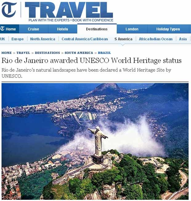 Rio de Janeiro patrim&#244;nio Telegraph (Foto: Reprodu&#231;&#227;o)