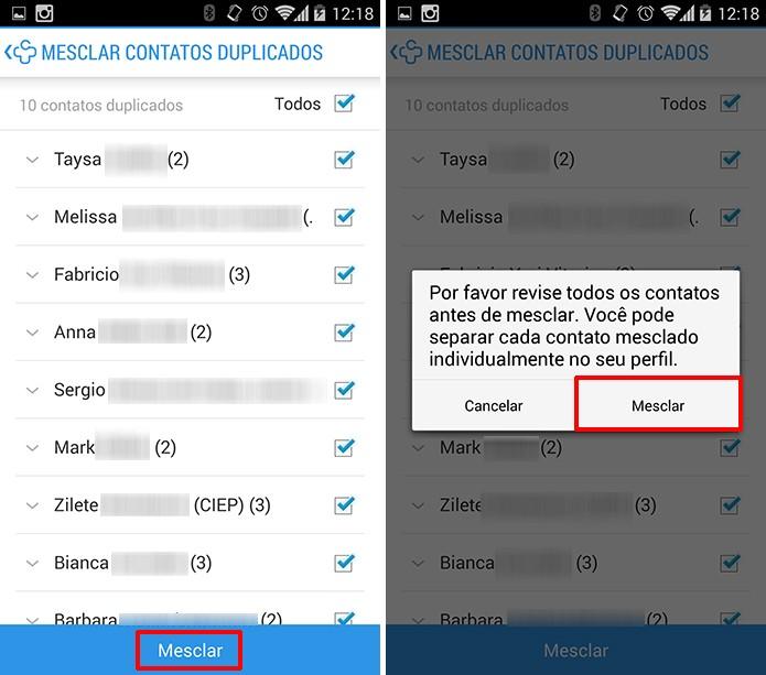 Contacts+ exibirá alerta antes de mesclar contatos do Android (Foto: Reprodução/Elson de Souza)