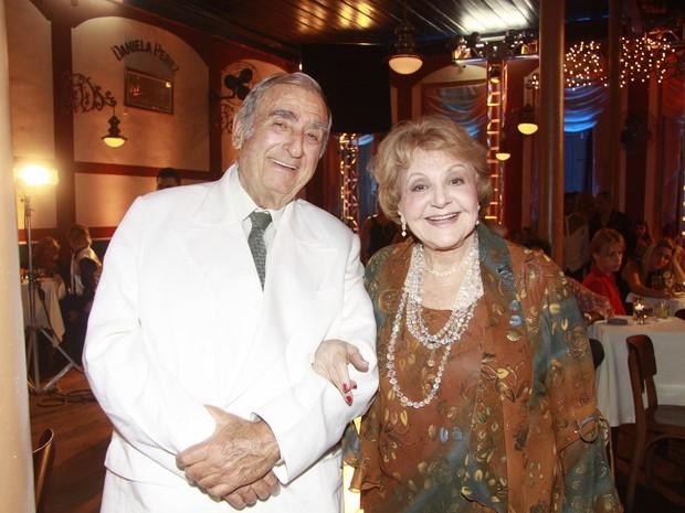 Cadore e Cidinha, personagens de Elias Gleizer e Eva Todor em 'Caminho das Índias', durante gravação em junho de 2009 (Foto: Isac Luz/TV Globo)
