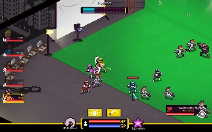 Personagens de Chroma Squad em ação, enfrentando inimigos e monstros (Foto: Divulgação)