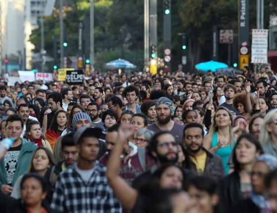 Protesto contra o presidente do Brasil, Michel Temer  em Fernando Donasc (Foto: Fernando Donasci/Reuters)