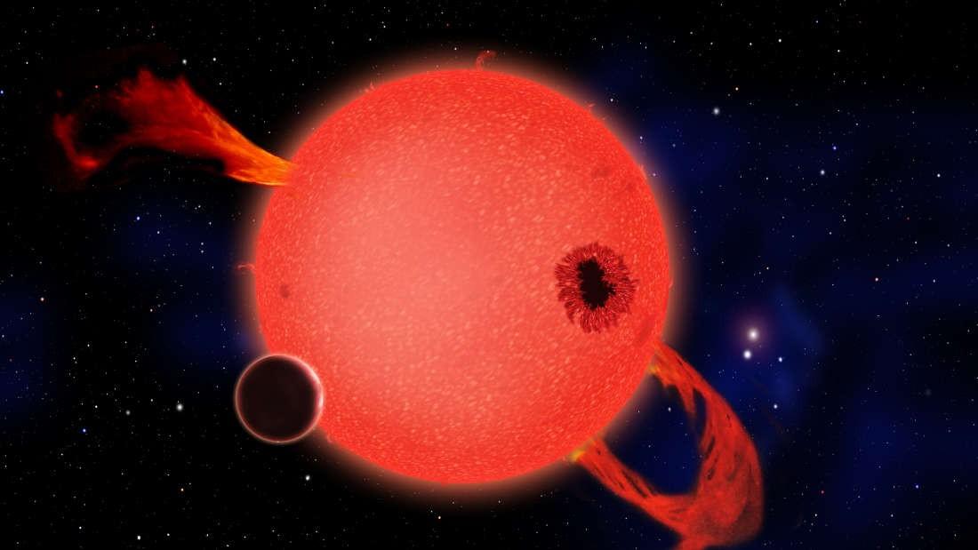 Planeta orbitando uma anã vermelha (Foto: CFA)