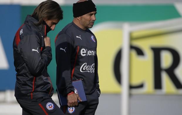Jorge Sampaoli e Sebastian Beccacece treino Chile
