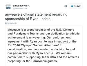 airweave rompe patrocínio com ryan lochte (Foto: Reprodução)