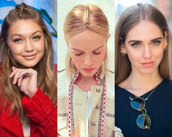 Gigi Hadid, Kate Bosworth e Chiara Ferragni optaram pela trança unicórnio (Foto: Getty Images/Instagram)