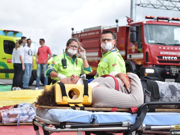 Simulado de acidente na rodovia Dom Pedro I em Campinas (Foto: Bernardo Medeiros / Rota das Bandeiras)