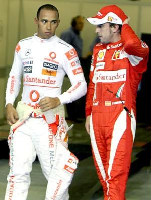 Hamilton e Alonso F1 (Foto: AFP)