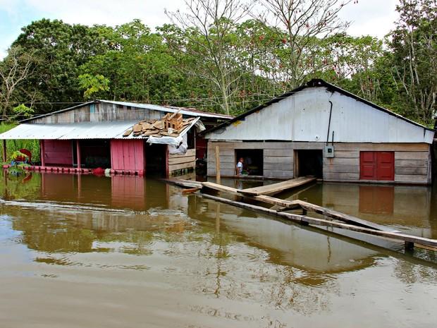 Casas foram invadidas pelas águas  (Foto: Adneison Severiano/G1 AM)
