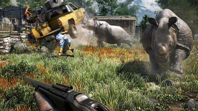 Imagine encontrar com um par de rinocerontes no meio de um tiroteio em Far Cry 4 (Foto: The Dark Side of Gaming)