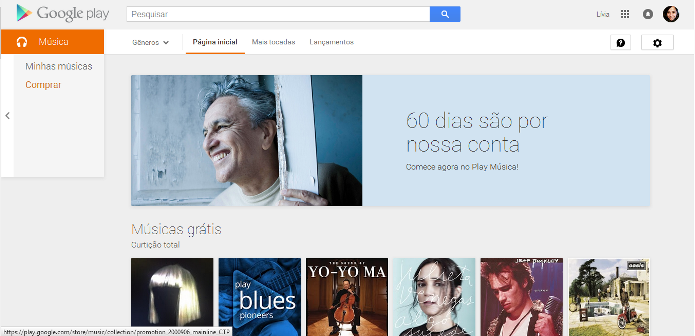 Google Play oferece EPs, álbuns e músicas gratuitas aos seus usuários (Foto: Reprodução/Lívia Dâmaso)