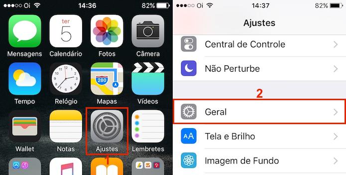 Acessando a opção Geral dentro dos Ajustes do iOS (Foto: reprodução/Edivaldo Brito)