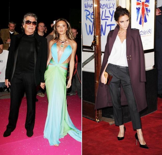 b28c4b2543777 Victoria Beckham usou muito as criações sensuais de Roberto Cavalli antes  de criar a marca que leva seu nome. A foto da esquerda é de 2005 (Foto   Getty ...
