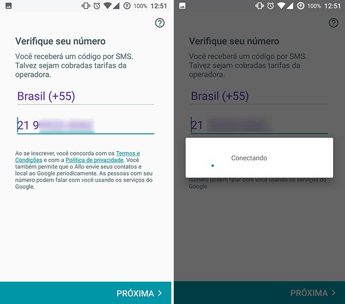 Google Allo pede a confirmação do número de celular do usuário (Foto: Reprodução/Elson de Souza)