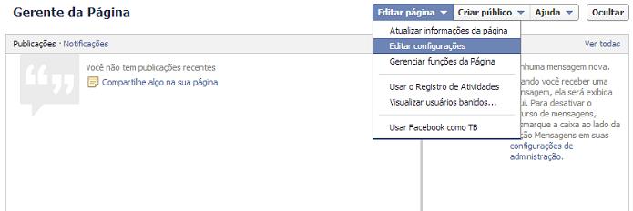Abra as configurações de sua página (Foto: Thiago Barros/Reprodução)
