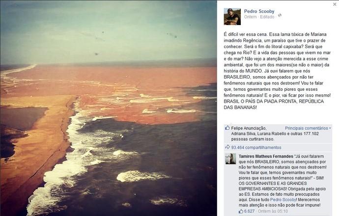 Scooby lamenta mar de lama em um dos melhores lugares para a prática de surfe no Brasil (Foto: Reprodução/Facebook)