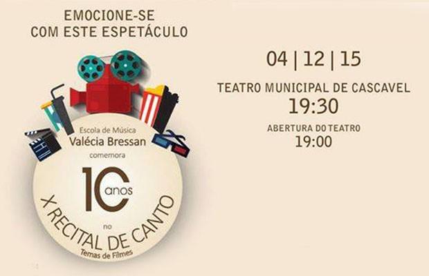 X Recital de Canto traz clássicos do cinema nacional e internacional (Foto: Divulgação)