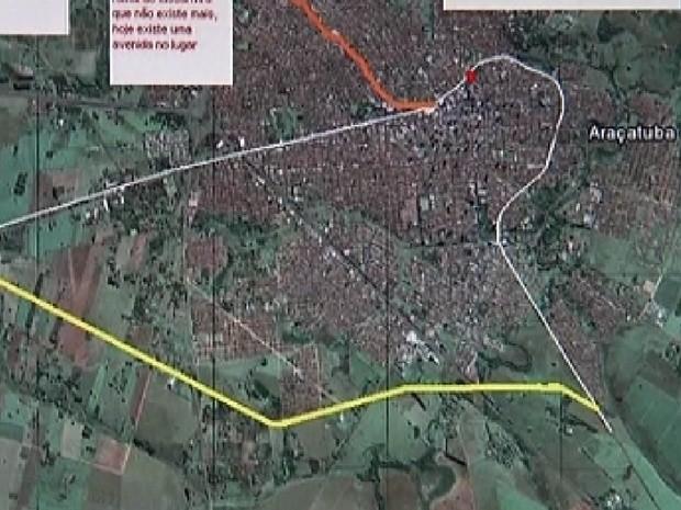 Trajeto antigo do trem em Araçatuba (linha branca) e o novo trajeto (amarela) (Foto: Reprodução / TV Tem)
