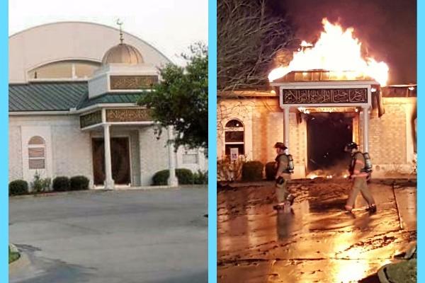 Fotos mostram a mesquita antes e depois do incidente (Foto: Reprodução / GoFundMe)