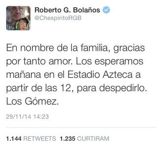 Família sobre Roberto Bolaños (Foto: Twitter / Reprodução)