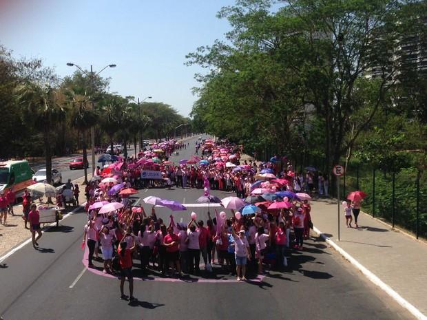 Participantes fizeram um laço simbólico na avenida (Foto: Beto Marques/G1)