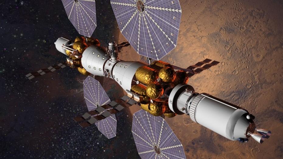 Concepção artística de estação espacial marciana proposta pela empresa Lockheed Martin (Foto: divulgação)