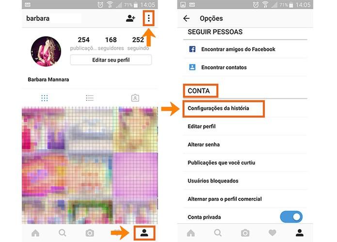 Acesse o seu Perfil no Instagram e abra as configurações pelo app no celular (Foto: Reprodução/Barbara Mannara)