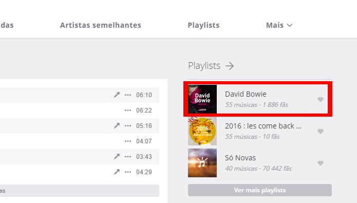 Playlists podem ser acessadas com facilidade na página do músico (Foto: Reprodução/Deezer)